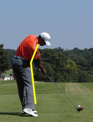 タイガーウッズのスイング中の前傾角度
